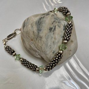 Silver and Green Stone Bracelet